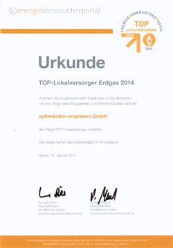 TOP-Lokalversorger Erdgas 2014